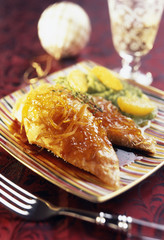 Roast capon supreme with orange and artichoke purée
