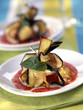 Eggplant and goat's cheese Aumoniere