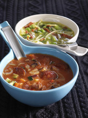 Tomato soup and Minestrone with pesto