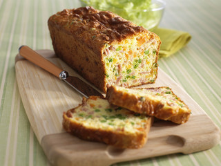 ham and young vegetable savoury cake