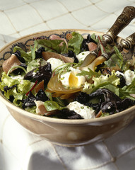 Quail egg and black trumpet mushrooms with sherry salad