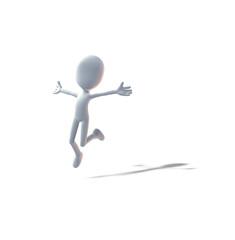 sprung, 3D-Figur, Mann
