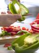 Cutting a green pepper
