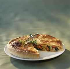 Salmon and summer vegetable pie