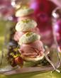 Pistachio macaroon with wild strawberry sorbet