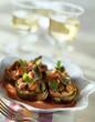 Artichoke salad served in half artichokes