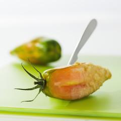 Green zebra tomato tempura