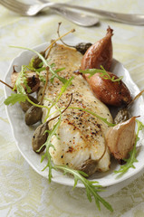 Roast cod with capers,shallots and confit garlic