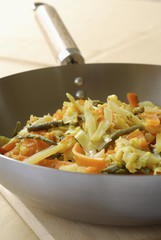 Old-fashioned vegetables cooked in a wok