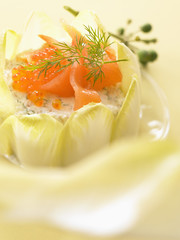 Salmon and chicory Charlotte