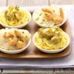 Celery remoulade with whelks,cauliflower and shrimp salad