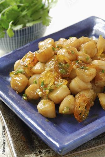 Petoncle scallops caramelized with kumquats