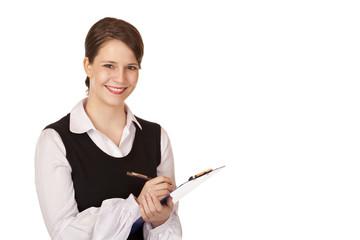Junge attraktive Frau hält Klemmbrett und lacht