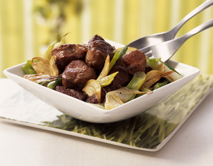 Lamb sauté with spring onions