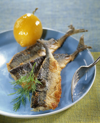 Deep fried mackerels with preserved lemon