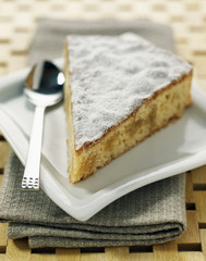 Portion of soft lemon cake