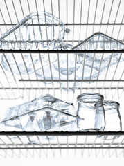 Empty glass containers in the refrigerator