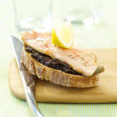 Salmon trout and tapenade on toast