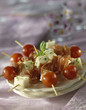 Raw ham,cheese and cherry tomato skewers