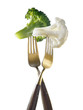 Two forks with broccoli and cauliflower ;light lunch