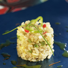 Timbale of saffron rice
