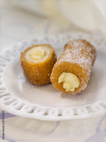 Banana Churros filled with custard