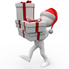 3D human with Christmas gifts and a Santa Claus hat