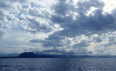 Cloudy seascape blue ocean sea in Mongo Denia