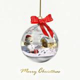 Fototapety Palla di vetro con paesaggio natalizio