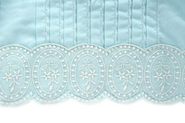 embroidery turquoise fabric white flower design