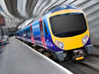 Fast Modern Passenger Train with Motion Blur