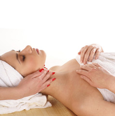 A young woman on a spa treatment procedure