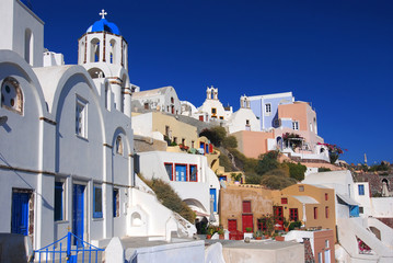 Oia village in island of Thira (Santorini - Cyclades), Greece