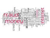 Internet Money Fraud tag cloud on white background poster