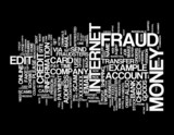Internet Fraud word cloud on black background poster