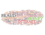Online Internet Fraud word cloud on white background poster