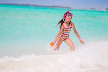 Girl playing in sea