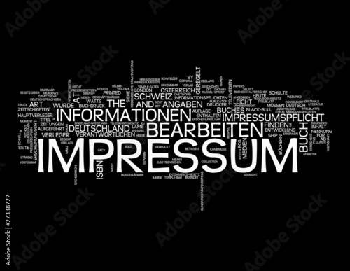 Impressum word cloud on black