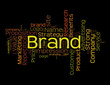 Brand word collage on black background