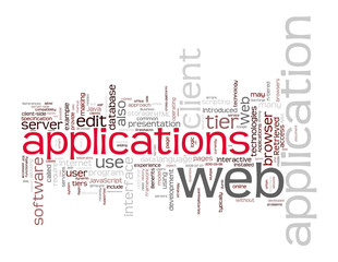 Web Applications Word Cloud on white background