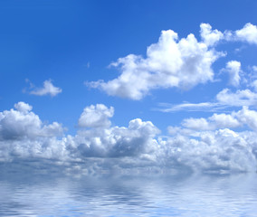 Beautiful image of the deep blue sky with clouds