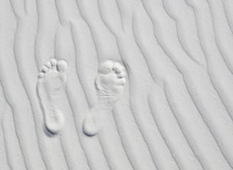 Footprints on white
