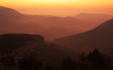 Sunset in Rhodope mountains