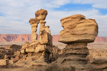 Geological formations in Ischigualasto, Argentina.