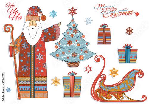 Vintage Christmas: Santa, Christmas Tree, Gifts, Sleigh...