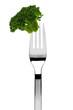broccoli röschen auf einer gabel, isoliert