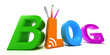 Colourful blog. 3D concept on white background.