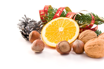 christmas decoration with orange and nuts
