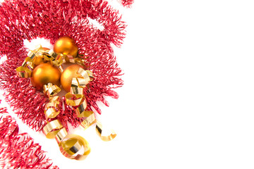 Christmas tinsel on white background