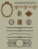 Design elements: vintage borders, etchings and horizontal rules poster